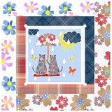 Patchwork for kids with butterflies and cats Stock Photo