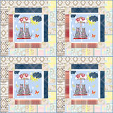 Patchwork for kids with butterflies and cats Royalty Free Stock Images