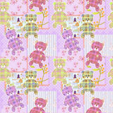 Patchwork for kids with elements and bears background Stock Image
