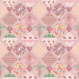Patchwork kids pink squares seamless pattern texture Royalty Free Stock Images