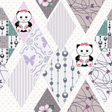 Patchwork kids seamless pattern with ornaments and cats backgrou Royalty Free Stock Photo