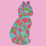 Patchwork Kitten Vector Illustration Photos stock