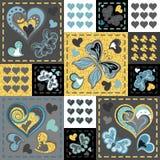 Patchwork kolorowy z sercami i motylem bezszwowy wzoru Złoci błyskotliwi elementy Scrapbooking serie Zdjęcia Royalty Free