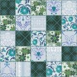 Patchwork koronki zieleni bezszwowy kwiecisty wzór Obraz Royalty Free