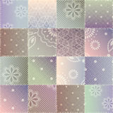 Patchwork of lace fabric Stock Images