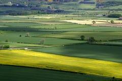Patchwork Landscape. UK rural agricultural landscape stock photo