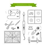 Patchwork line icons set. Quilting supplies and accessories icons. Vector outline icon collection Royalty Free Stock Images
