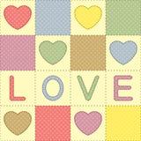 Patchwork mit Herzen und Liebe Stockbilder
