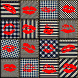 Patchwork in nautical style with prints of kisses Stock Photos