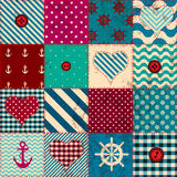 Patchwork in nautical style Royalty Free Stock Images