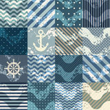 Patchwork in nautical stylw with grunge waves Stock Images