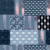 Patchwork navy retro texture pattern background Royalty Free Stock Image