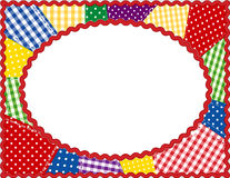 Patchwork Oval Frame, Brights. Bright colored gingham & polka dot patchwork in an oval rick rack frame. Copy space to add your favorite picture for albums and Royalty Free Stock Image