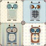 Patchwork with owls Royalty Free Stock Photo