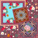 Patchwork pattern with abstract ethnic ornament and different floral prints.  stock illustration