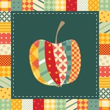 Patchwork pattern. Applique of cute colorful apple Royalty Free Stock Images