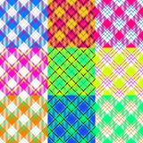 Patchwork pattern composed of checked and diagonally crossover striped fabrics Royalty Free Stock Images