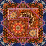 Patchwork pattern in ethnic style. Bandana print with flower mandala and ornamental frame, unique carpet, pillowcase Stock Images