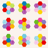Patchwork pattern with flowers made of hexagonal patches Royalty Free Stock Photo