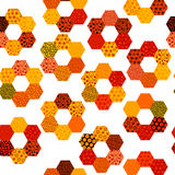 Patchwork pattern with flowers made of hexagonal patches. On white background vector illustration