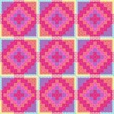 Patchwork Pattern. Graphic and colorful patchwork quilt pattern stock illustration