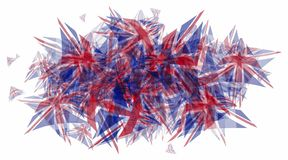Patchwork pattern of Great Britain flags. In the form of a oval frame for text on top, isolated on white background, eps10 vector illustration stock illustration