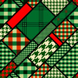 Patchwork pattern with green plaid patches Stock Image