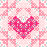 Patchwork pattern with heart Royalty Free Stock Image