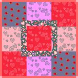 Patchwork pattern with hearts, berries and sweets for Valentines day Royalty Free Stock Photos