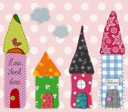 Patchwork pattern. Little town. Colorful graphic illustration Stock Photo