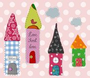 Patchwork pattern. Little town. Colorful graphic illustration Stock Photos