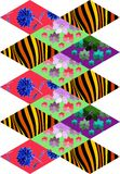 Patchwork pattern from rhombus patches with flowers and waves. Royalty Free Stock Photos