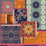 Patchwork pattern. Stylized flowers. Indian, arabic, moroccan motives. Ethnic print for fabric. Patchwork pattern. Stylized flowers. Indian, arabic, moroccan stock illustration
