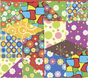 Patchwork pattern in vector. Texture created from scraps of fabric in vector Stock Photos