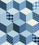 Patchwork pattern. Winter seamless patchwork pattern in blue tones Stock Image
