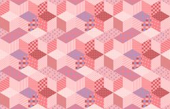 Patchwork in pink and lilac tones with floral and geometric patches. Colorful seamless pattern with stars. Vector illustration of quilt Royalty Free Stock Image