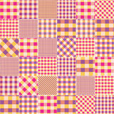 Patchwork of pink plaid scraps fabric. Royalty Free Stock Photography