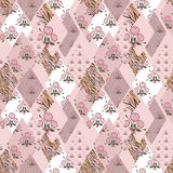 Patchwork pink seamless pattern texture Royalty Free Stock Photos