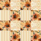 Patchwork pomarańcze lilly wzoru tekstury bezszwowy kwiecisty backgroun Fotografia Royalty Free
