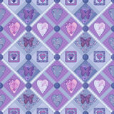 Patchwork purple squares seamless pattern texture Stock Photos