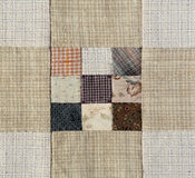 Patchwork Quilt , Basic pattern square. Brown tone color Stock Photography