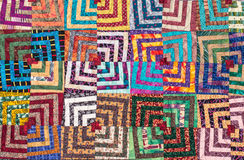 Patchwork. Quilt in bright colours stock photography