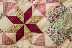 Patchwork Quilt. Close up from colorful patchwork sheet as texture and background Royalty Free Stock Image
