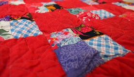 Patchwork quilt from the country house interior Royalty Free Stock Photos