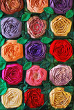 Patchwork quilt with flowers. Colorful patchwork quilt with flowers. Handmade work Royalty Free Stock Photo