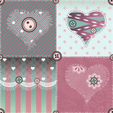 Patchwork quilt with hearts and lace. Stock Photography