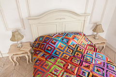 Patchwork quilt. Part of patchwork quilt as background. Handmade Royalty Free Stock Photography