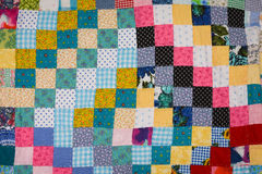 Patchwork Quilt Squares Pink and Yellow Stock Photos