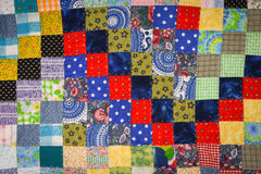 Patchwork Quilt Squares Red and Blue Stock Image