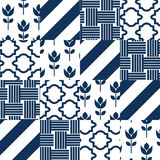 Patchwork quilt vector pattern tiles Stock Photos